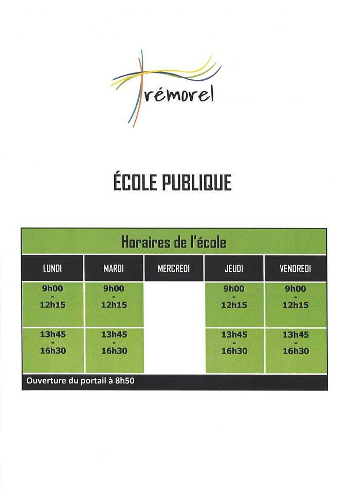 horaires ecole publique