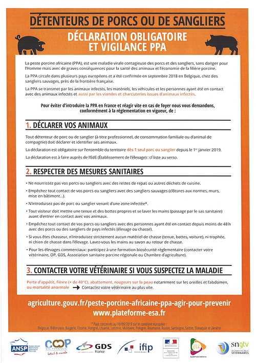 DECLARATION OBLIGATOIRE Porcs / Sangliers 0
