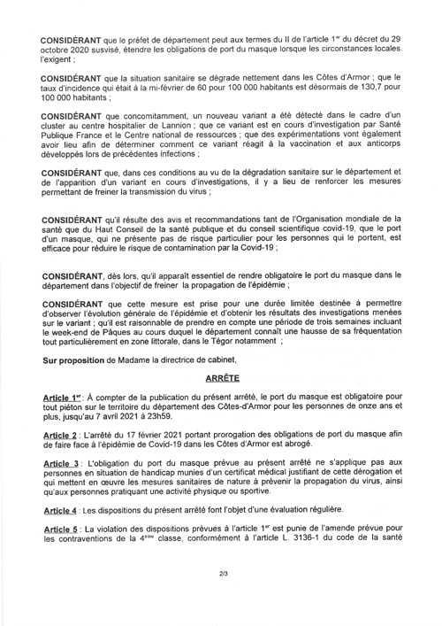 PORT DU MASQUE OBLIGATOIRE EN COTES D''ARMOR page2m